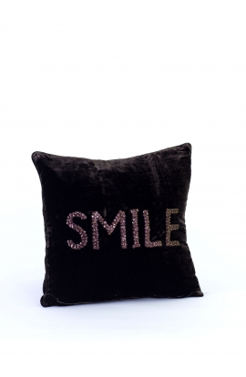 "Coussin 35*35 ""SMILE"" Velours"