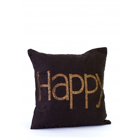 "Coussin 50*50 ""HAPPY"" TOILE"