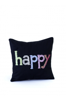 "Coussin 35*35 ""HAPPY"" Toile"