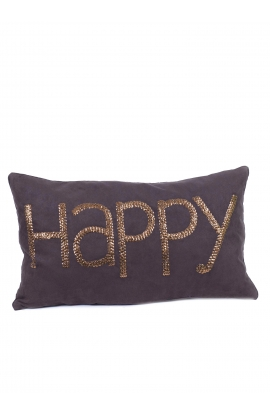 "Coussin 35*60 ""HAPPY"" Toile"